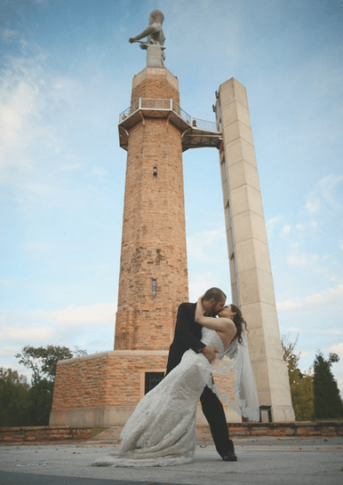 Kissing at Vulcan Park and Museum J.Woodbery Photography
