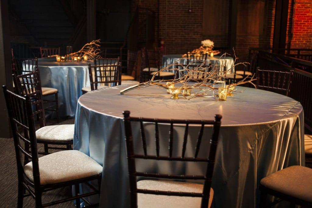 Light Blue Satin Table Linen