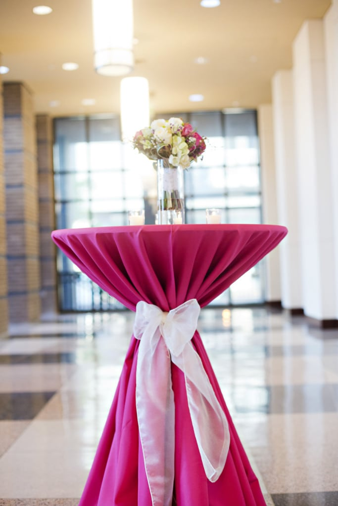 pink polyester highboy table linen